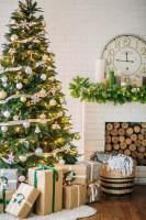 Vianočný stromček v obývačke s bielou tehlovou stenou