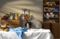 Drevená šuplíková komoda, skriňa s policami, kreslo, vešiak a posteľ