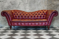 Vintage bordový kožený gauč