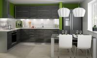 Čiernobiela rohová kuchyňa