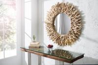 Okrúhle zrkadlo s prírodným dreveným rámom