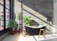 Čierno-biela voľne stojaca vaňa a izbové rastliny