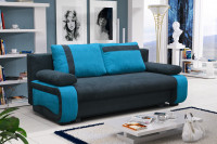 Moderná obývačka s čiernomodrou pohovkou