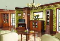Historizujúca obývačka s tmavohnedým nábytkom