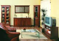 Klasická obývačka s koženým kreslom a skleneným stolíkom