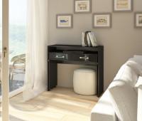 Obývačka v béžových farbách s kontrastným čiernym PC stolíkom