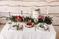 Vianočné prestieranie s vetvičkami, šiškami a granátovým jablkom