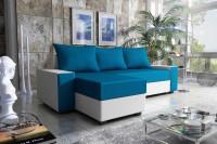 Modrá rohová sedačka s vankúšmi v moderne zariadnej obývačke