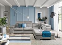 Moderná obývačka vo farebnej kombinácii modrej a bielej