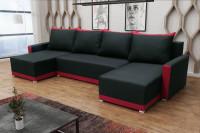 Moderná obývacia izba s čiernou sedačkou do U