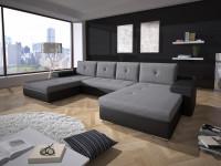 Sivočierna sedačka do tvaru U v priestrannej obývačke