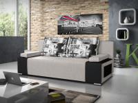 Moderná čiernobiela obývačka s doplnkami s londýnskym motívom