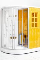 Saunová kabínka spojená so sprchovým kútom