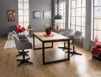 Moderný jedálenský stôl z dubovej dýhy a kovovej konštrukcie