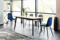 Minimalistický jedálenský stôl z kovu a dubovej dosky