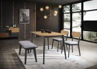 Jedálenský stôl v kombinácii svetlého dreva a tmavého laku