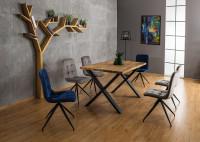 Jedálenský stôl z prírodnej dubovej dýhy a čierneho kovu