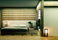 Sivá, hnedá a biela v spálni v japonskom štýle
