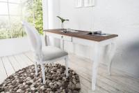 Vintage písací stolík s bielou čalúnenou stoličkou
