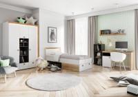 Študentská izba s moderným bielym nábytkom