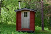 Menší saunový domček pod stromami