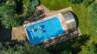 Bazén v záhrade s odsúvacím prekrytím