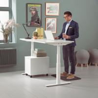 Biely kancelársky stôl s nastaviteľnou výškou