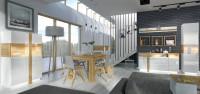 Moderný bledý nábytok do jedálne a obývacej izby
