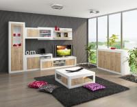 Moderná obývacia zostava v dubovom prevedení skombinovaným s bielym leskom