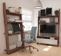 Obývačka či pracovňa s regálovým sektorovým nábytkom