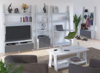 Obývačka s moderným regálovým nábytkom