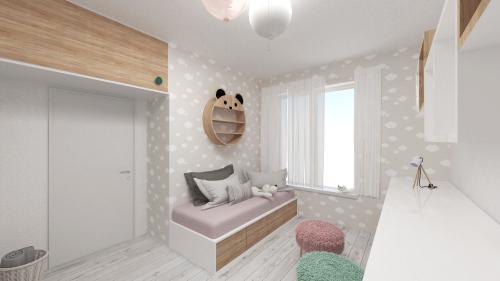 Detská izba s obláčikovou tapetou