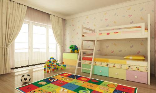 Drevená poschodová posteľ s farebnými šuplíkmi
