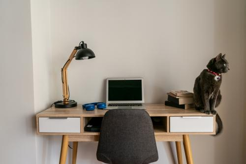Drevený písací stôl s lampou a relaxačným prvkom
