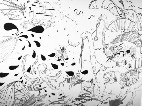 Maľovaná stena Chrobáky a dinosaury