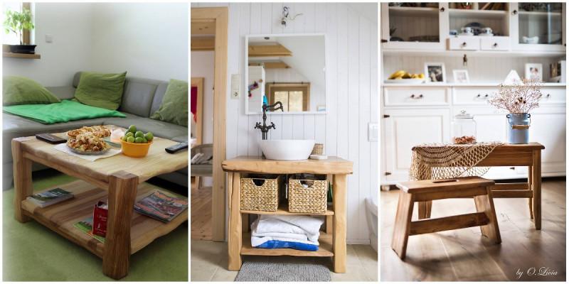 Prírodný konferenčný stolík, stolík pod umývadlo a naturálne šamlíky