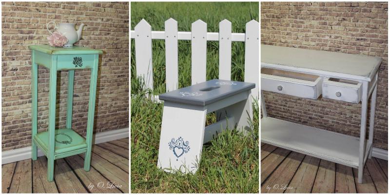 Patinovaný odkladací stolík, šamlík s ľudovým motívom a patinovaný konzolový stolík