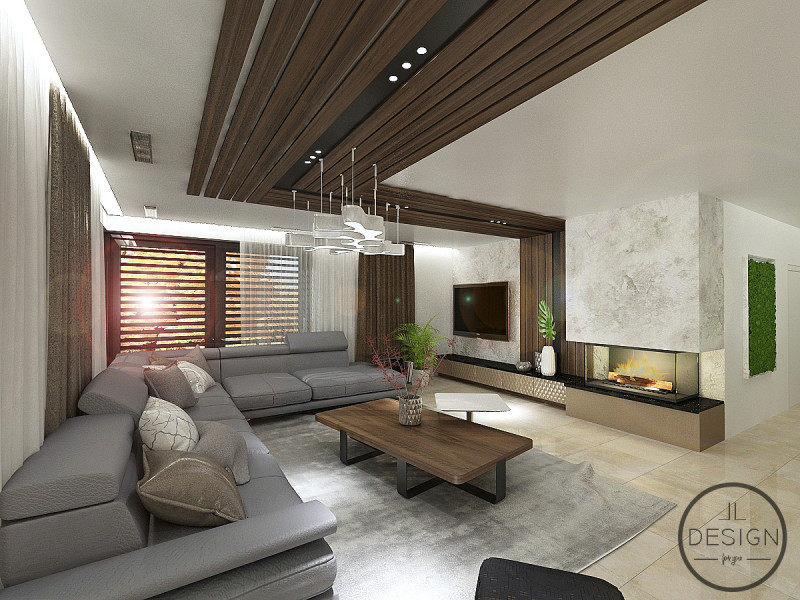 Návrh obývačky s krbom od Ľudmily Lešánek