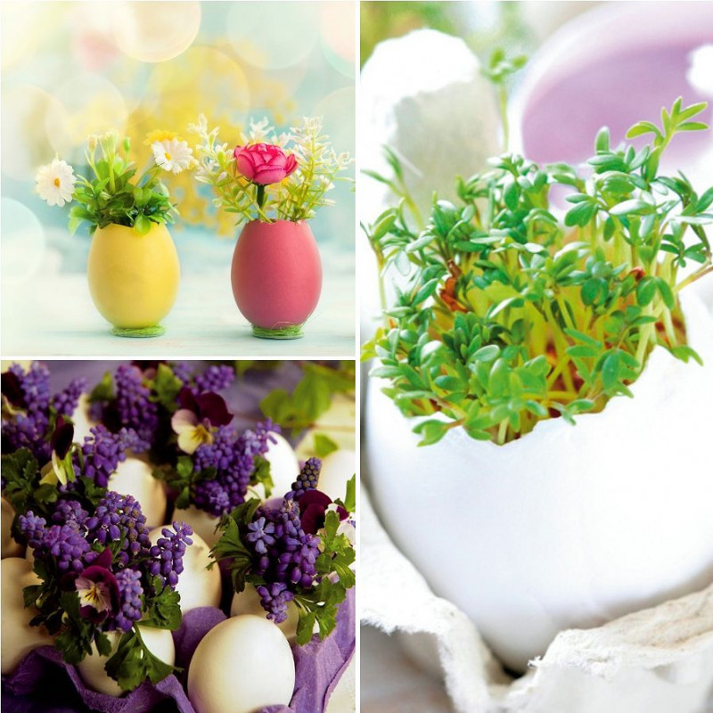 Veľkonočné dekorácie - rozkvitnuté škrupinky