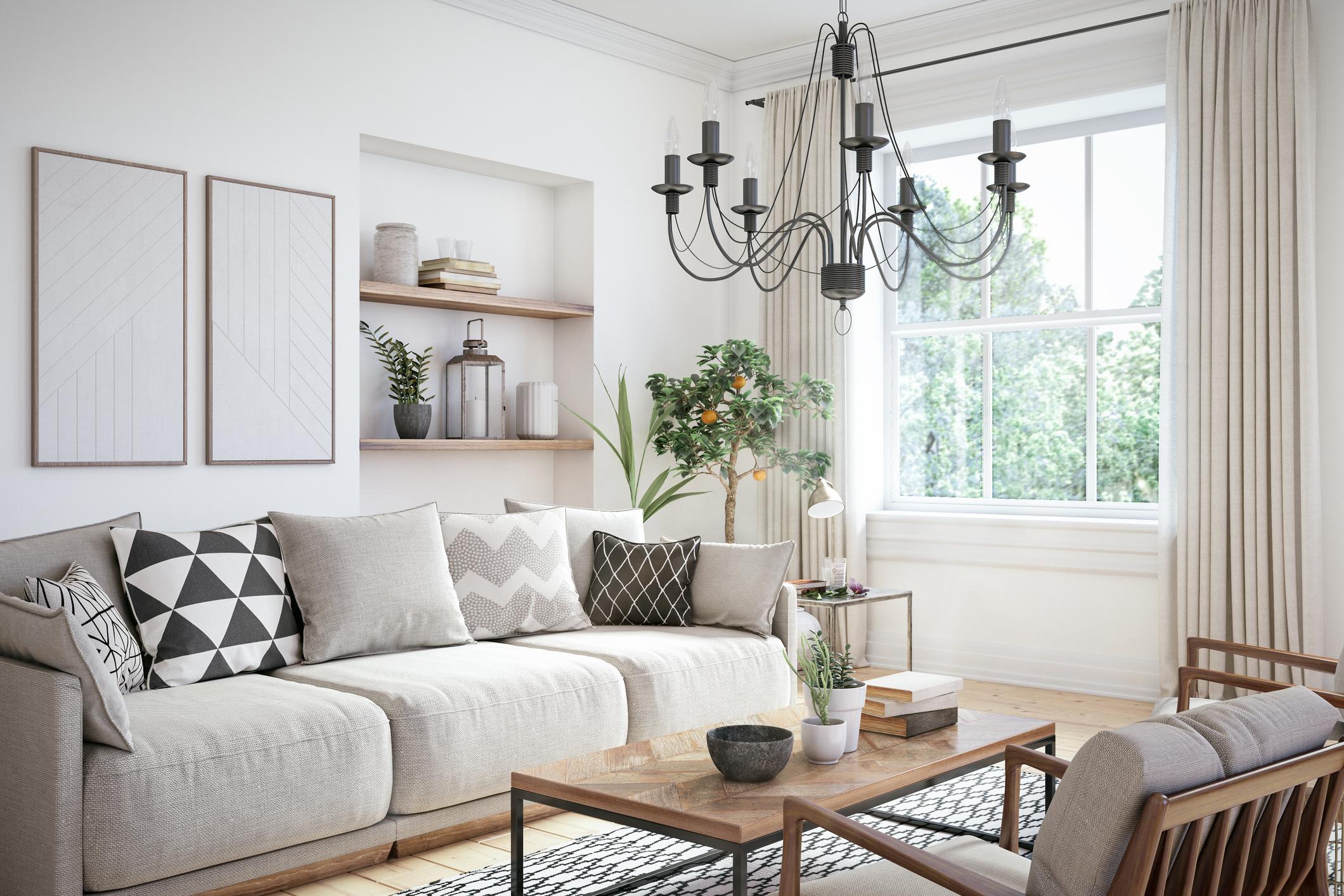 Obývačka v modernom škandinávskom štýle