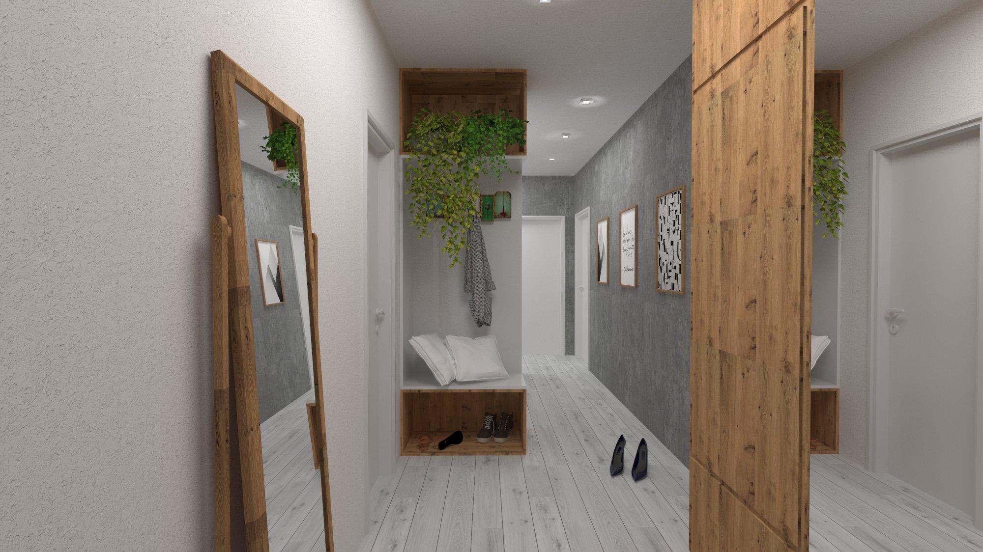 Návrh interiéru pre byt v novostavbe - predsieň
