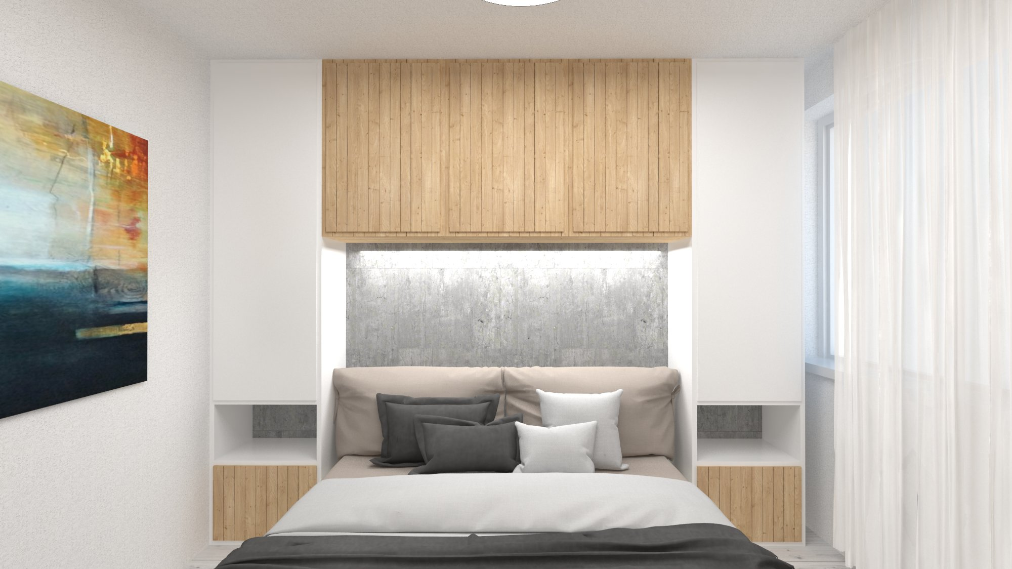 Návrh interiéru pre byt v novostavbe - spálňa