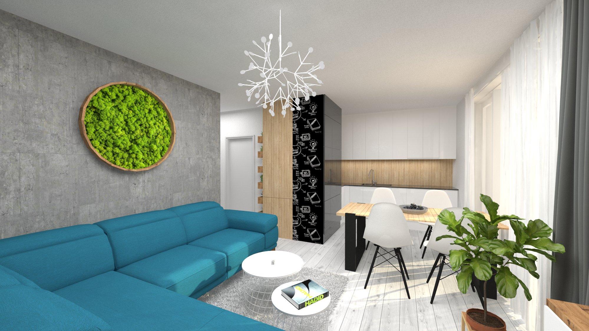 Návrh interiéru pre byt v novostavbe - obývačka s kuchyňou