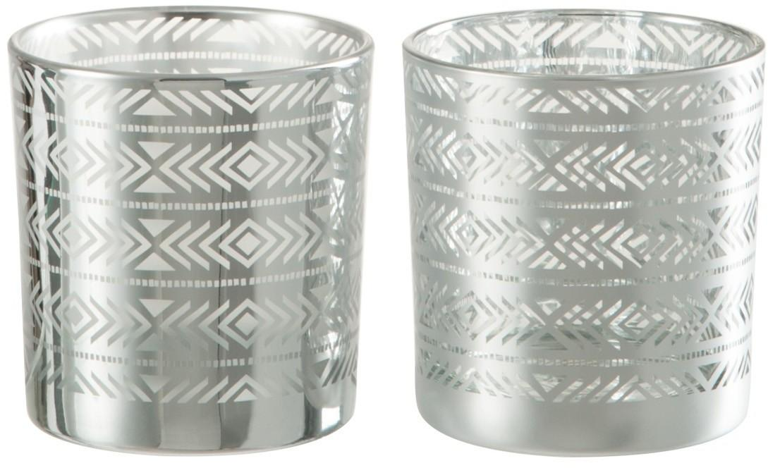 2ks Strieborné sklenené svietniky na čajovú sviečku s etnickým vzorom - 7,3 * 7,3 * 8 cm