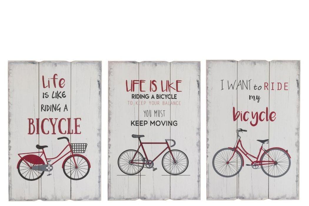 3 drevené nástenné ceduľe Bicycle - 40 * 2 * 60 cm