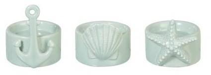 3 ks mintovou keramický svietnik s mušlí, kotvou a hviezdicou - 7 * 8 cm