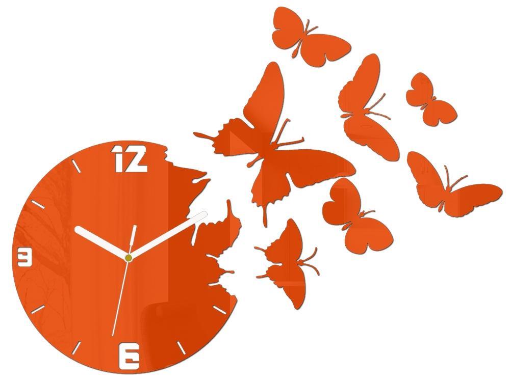 3D nalepovacie hodiny Butterfly oranžové
