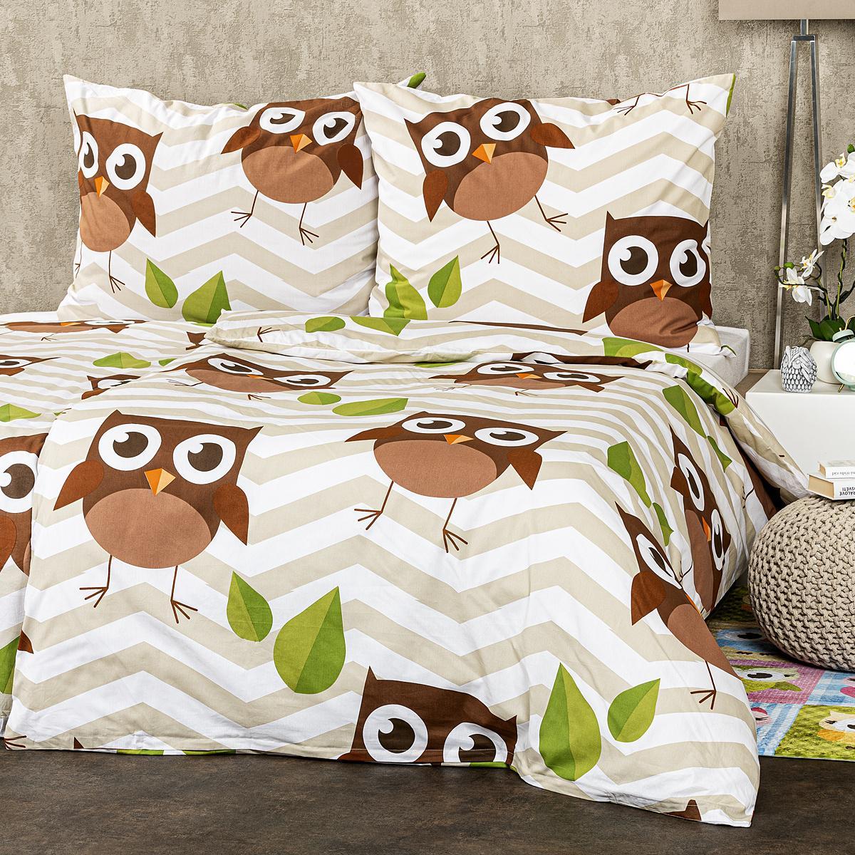 4Home Bavlnené obliečky Sovy hnedá, 140 x 200 cm, 70 x 90 cm