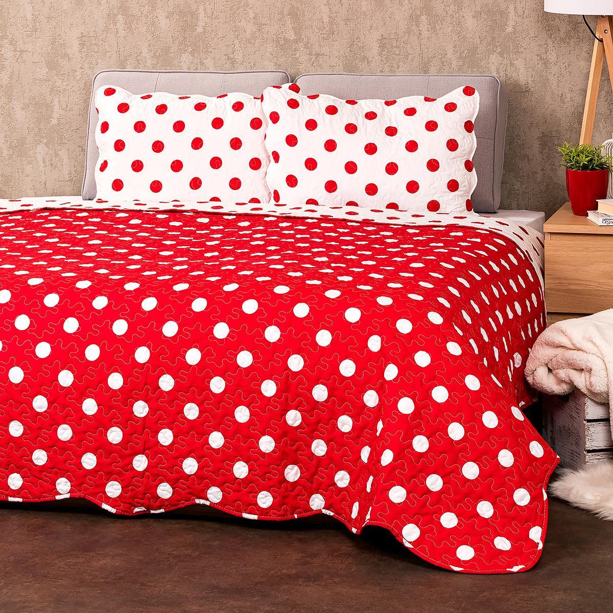 4Home Prehoz na posteľ Červená bodka, 220 x 240 cm, 2 ks 50 x 70 cm