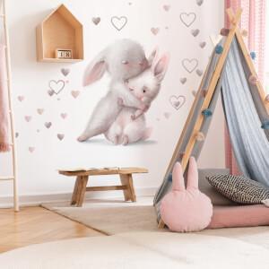 Akvarelová nálepka na stenu - Zajačiky v objatí